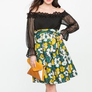 Eloquii Studio Printed Tie Midi Skirt